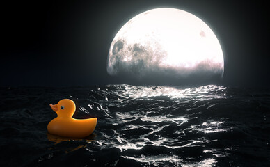 Rubber Duck and Moon On Water