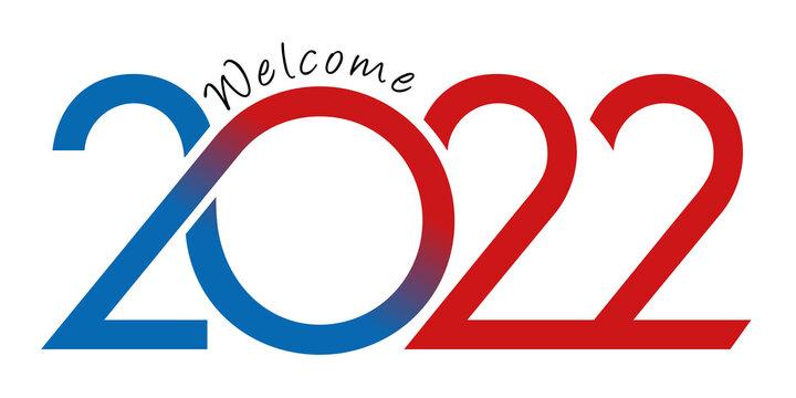 Carte de vœux au graphisme dynamique pour présenter l'année 2022 avec une succession de courbes de couleur rouge et bleu sur un fond blanc.