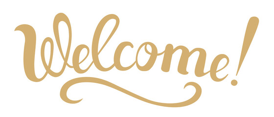 Welcome - the word is written in handwritten letters. Lettering wishes for web design.