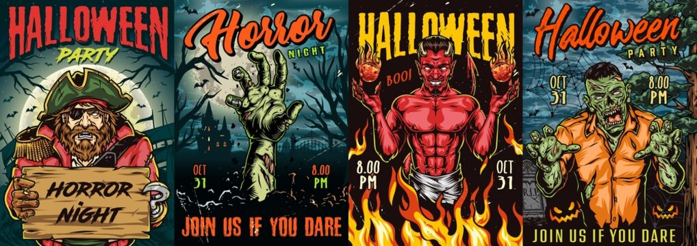 Halloween night colorful posters
