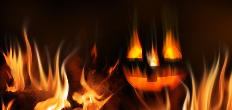 Dark abstract Halloween background. A fiery pumpkin head on a black background in a burning fire. 3d illustration