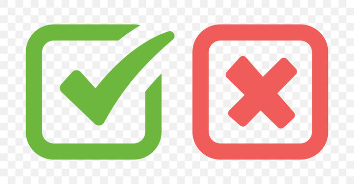 Checkbox Yes and No icon on transparent background.