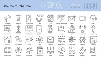 Obraz Digital marketing linear icons. Editable stroke. Campaign to promote focus search engine TV e-mail management planning presentation. Social media advertisement strategy typescript service merchandise - fototapety do salonu