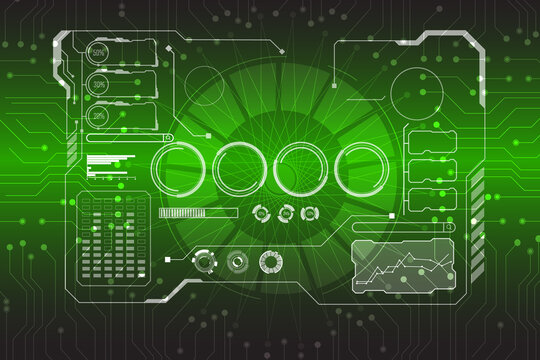 Abstract Virtual Cyber Control Display Pack For Game App UI Illustration.