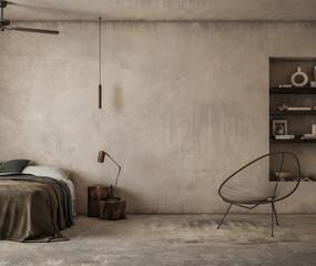 Obraz Earthy nomadic bedroom interior, 3d render - fototapety do salonu