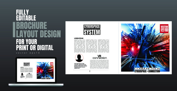 Layout with abstract technology concept ready for brochure, annual report or magazine, vector