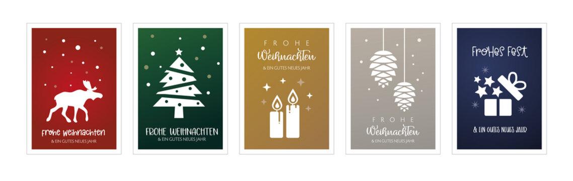 Weihnachtsgrüße mit fünf verschiedenen weihnachtlichen Motiven - deutscher Text - verschiedenfarbige Hintergründe