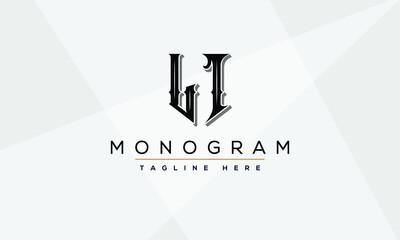 Obraz LI Abstract initial monogram letter alphabet logo design - fototapety do salonu