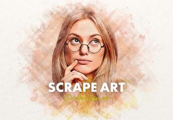 Fototapeta Scrape Painting Photo Effect Mockup obraz