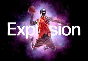 Obraz Powder Explosion Photo Effect Mockup - fototapety do salonu