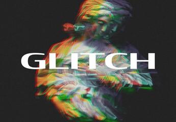 Obraz RGB Split Digital Glitch Photo Effect Mockup - fototapety do salonu