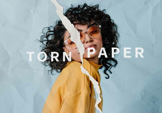 Torn Paper Collage Photo Effect Mockup