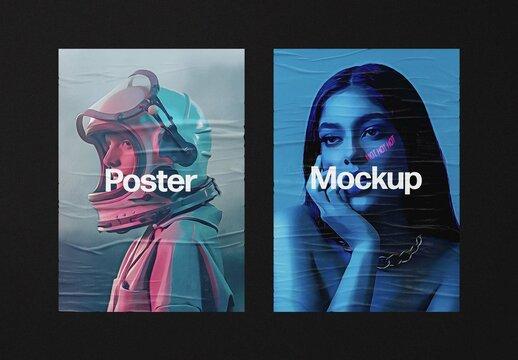 Glued Posters Mockup