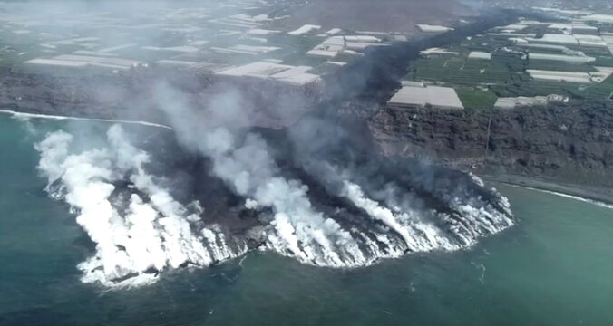 Lava flows following the eruption of a volcano on the Canary Island of La Palma