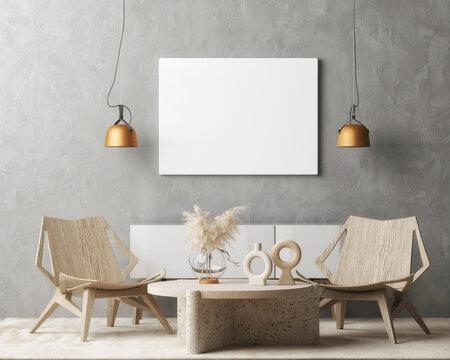 Mockup poster, living room loft interior, Scandinavian style. 3d illustration