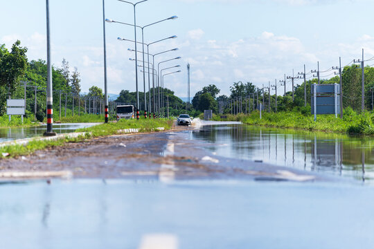 Car driving flood water, Some of the flooded area in thailand