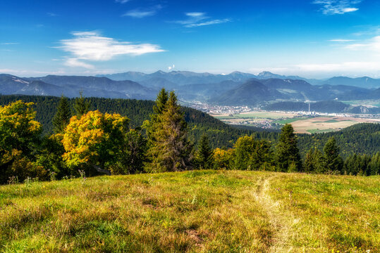 Colorful mountain landscape. View from hill Predna Magura on town Ruzomberok at Slovakia