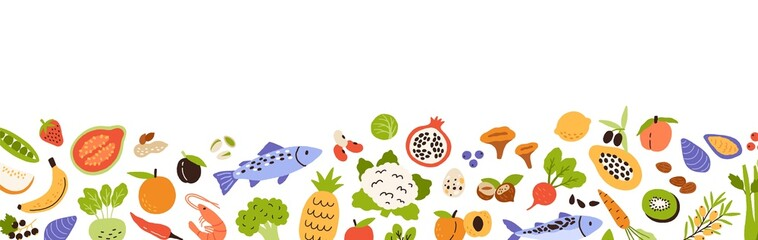 Fototapeta Healthy food border. Banner with grocery edge. Horizontal pattern with fresh organic fruits, vegetables and seafood. Vitamin foodstuff. Colored flat vector illustration isolated on white background obraz