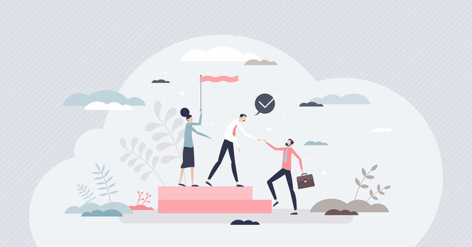 Onboarding colleague as introduction team with new member tiny person concept. Employee adaption in work place and rules instruction to join company vector illustration. Human resource hire process.