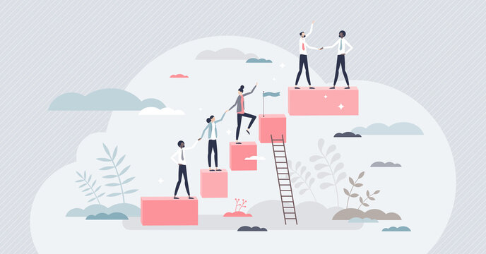 Onboarding new staff member and company work training tiny person concept. Employee career ladders and job guide or task explanation steps vector illustration. Manager qualification or growth process.