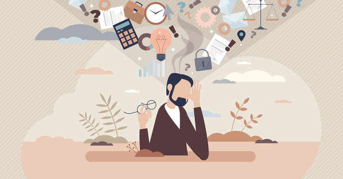Information overload or job burnout with stress tiny person concept. Busy businessman is tired about many duties and tasks vector illustration. Ineffective multitasking with work anxiety. TMI in data.