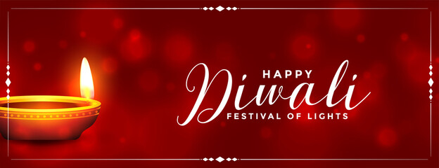 Fototapeta shiny happy diwali realistic diya banner design obraz