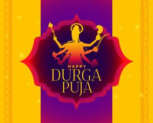 Fototapeta happy durga puja indian festival yellow card design obraz