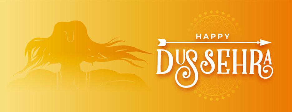 happy dussehra traditional golden banner design