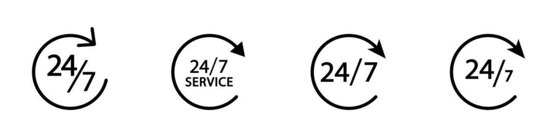 Conjunto de icono de servicio 24/7. Servicio las 24 horas. Atención las 24 horas. Concepto de horario de atención de un negocio. Siempre abierto. Ilustración vectorial