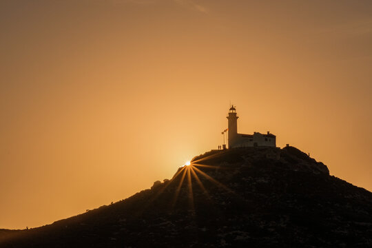 Datça Knidos ancient city lighthouse and sunset view