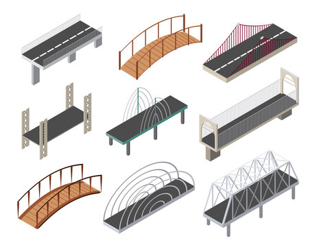 isometric bridges icons set. 3d isolated drawing elements of a modern urban infrastructure for games or applications. City transport objects, road crossing, construction architecture