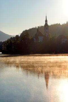 Sunny morning light at Lake Bled, Slovenia, Europe