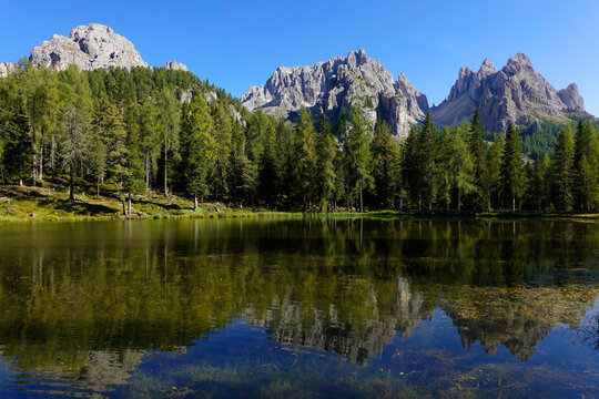 Summer landscape of Cadini of Misurina in the Dolomites of Sesto, (Cadore), Italy, Europe