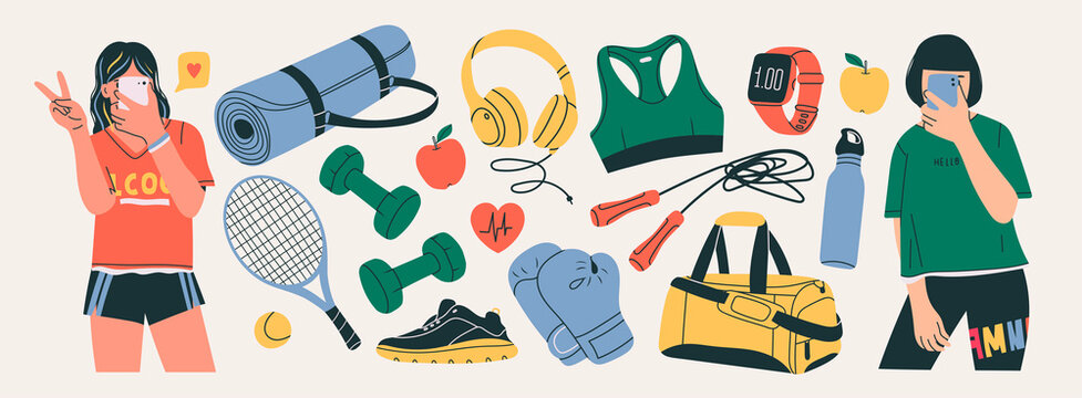 Sporty young Girls taking a selfie on smartphone. Various Sport equipment set. Different isolated Fitness inventory, gym accessories. Healthy lifestyle concept. Hand drawn modern Vector illustrations