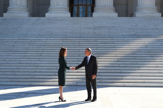 Supreme Court Justice Amy Coney Barrett participates in an investiture ceremony at U.S. Supreme Court, in Washington