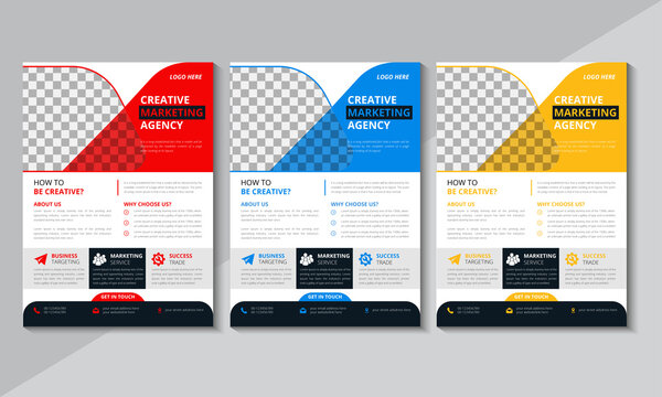 Creative Corporate Flyer Design, Business Flyer Template, Brochure design, annual report, poster,Blue, Red, Yellow, Vector illustration
