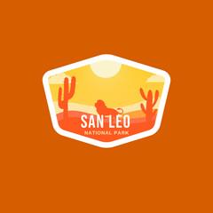 Obraz Badge logo of San Leo National Park in hot colours! - fototapety do salonu