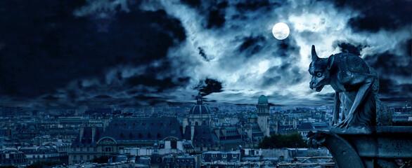 Obraz Gargoyle of Notre Dame de Paris on Halloween night, France - fototapety do salonu