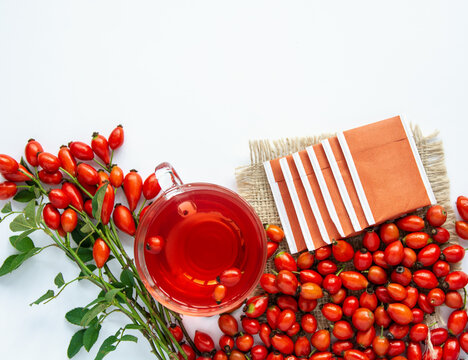 Dog rose, bunch branch Rosehips, types Rosa canina hips, essential oil and hot herbal tea cup on white background. Medicinal plants and herbs composition