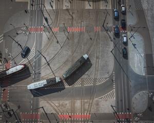 Fototapeta View of city. City traffic. Cars and trams. obraz