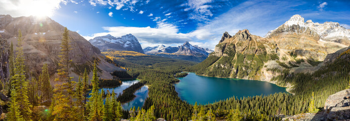 Obraz Panoramic View of Glacier Lake with Canadian Rocky Mountains in Background. Sunny Fall Day. Located in Lake O'Hara, Yoho National Park, British Columbia, Canada. Nature Panorama - fototapety do salonu