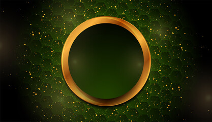 Fototapeta Green and golden shiny sparkling background with small dots and hexagons. Modern luxury vector design obraz