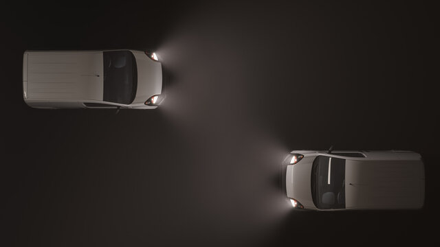 Top View of Two White Mini Vans Moving in Opposite Directions in the Dark 3D Rendering