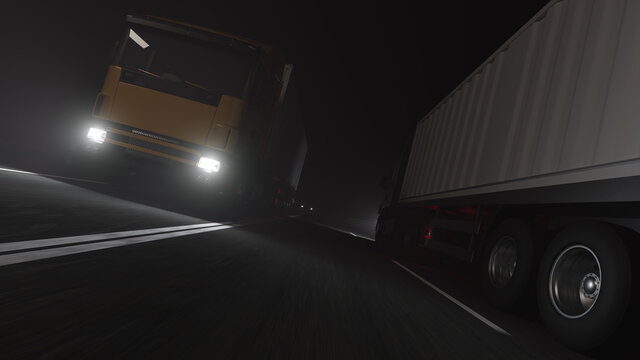 Low Angle View of Two Container Trucks Moving in Opposite Directions on the Road at Night 3D Rendering