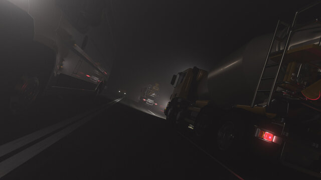 Low Angle View of Cement Mixers and a White Delivery Van Moving on the Road in Opposite Directions at Night 3D Rendering