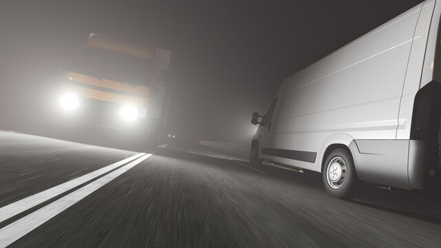 Low Angle View of a White Delivery Van and a Box Truck Moving in Opposite Directions on the Road at Night 3D Rendering