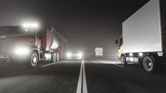 Low Angle View of the Road with a Heavy Traffic Flow at Night 3D Rendering