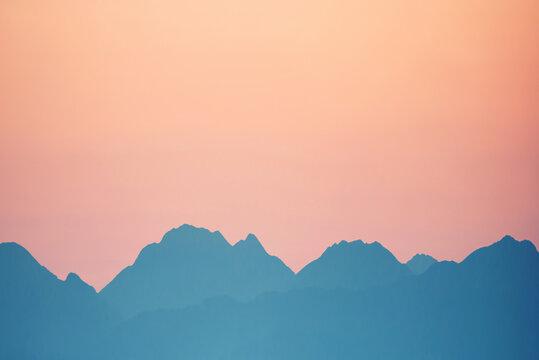Beautiful orange sunset mountains. Cagliari, Sardinia, Italy.