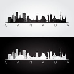 Fototapeta Canada skyline and landmarks silhouette, black and white design, vector illustration. obraz