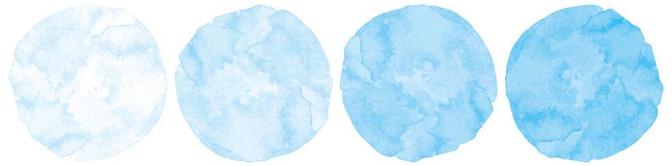 Fototapeta 水色水彩画絵具円形丸型筆跡テクスチャベクター滲み暈しイラスト素材 obraz